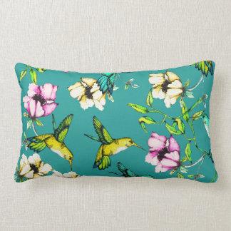 Verzauberte Gartenwatercolor-Kolibris u. Blumen Lendenkissen