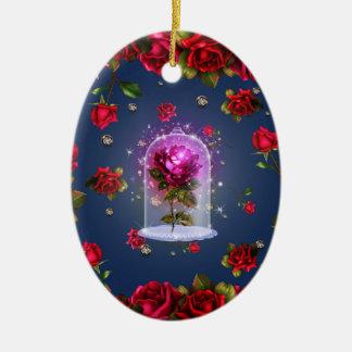 Verzauberte magische Rosen-Schönheit u. das Tier Keramik Ornament
