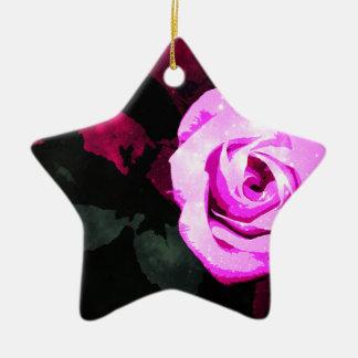 Verzauberte Rose Keramik Ornament