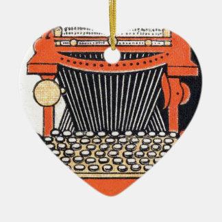 Verzauberte Schreibmaschine Keramik Herz-Ornament