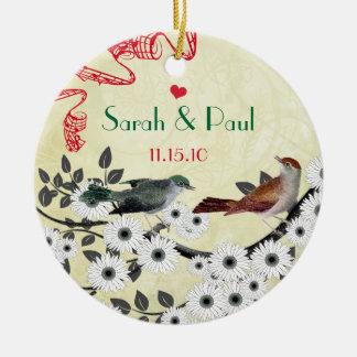 Verzauberte WaldLiebe-Vogel-Hochzeit Keramik Ornament