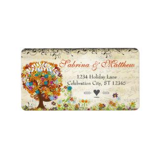 Verzauberte Waldseitenniederlassungs-Hochzeit Adressetikett