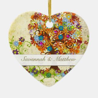 Verzauberte Waldseitenniederlassungs-Hochzeit Keramik Ornament