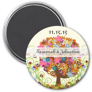 Verzauberte Waldseitenniederlassungs-Hochzeit Runder Magnet 7,6 Cm