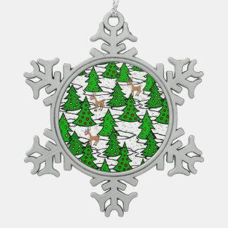 Verzauberter Wald - Schneeflocken Zinn-Ornament