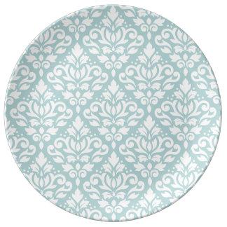 Verzeichnen Sie Damast großes Ptn Weiß auf Teller