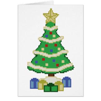 Verzierte Videospiel-Art des Weihnachtsbaum-8bit Karte