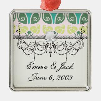 verzierter mit Blumendamast des Shabby Chic Silbernes Ornament