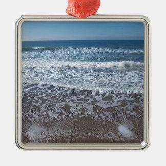 Verzierung der Ozean-Wellen-#1 Quadratisches Silberfarbenes Ornament