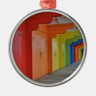 Verzierung der Scarborough-Strand-Hütten-III Rundes Silberfarbenes Ornament