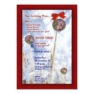 Verzierungen in der Schnee-WeihnachtsParty 12,7 X 17,8 Cm Einladungskarte