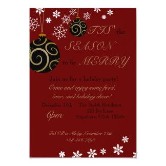 Verzierungs-und Schneeflocke-Feiertags-Party 12,7 X 17,8 Cm Einladungskarte