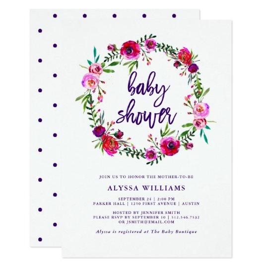 vibrierende blumen babyparty einladung 12 7 x 17 8 cm einladungskarte zazzle. Black Bedroom Furniture Sets. Home Design Ideas