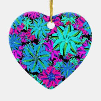 Vibrierende Blumencollage Keramik Herz-Ornament