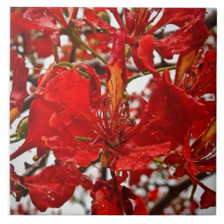 Vibrierende extravagante Blume auf Keramik-Fliese Große Quadratische Fliese