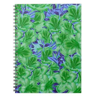 Vibrierende grün-blaue Vintage Blumen Spiral Notizblock