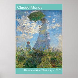 Vibrierenden Monets Frau mit einem Sonnenschirm Poster