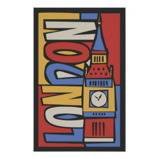 Vibrierender Handrawn Entwurf Londons, England   Poster