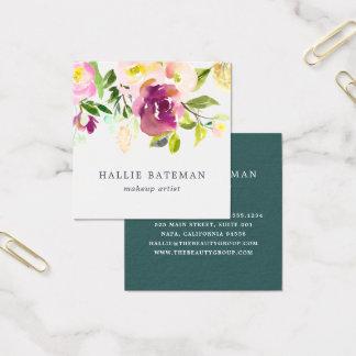 Vibrierendes modernes Aquarell der Blüten-| mit Quadratische Visitenkarte
