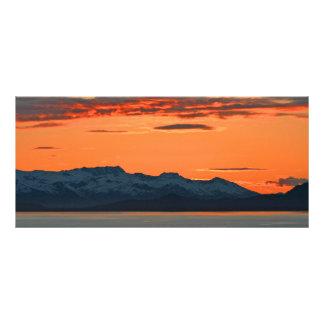 Vibrierendes orange Sonnenuntergang-Lesezeichen Individuelle Werbe Karte