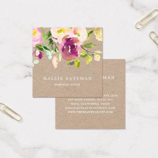 Vibrierendes rustikales Aquarell Blumenkraftpapier Quadratische Visitenkarte