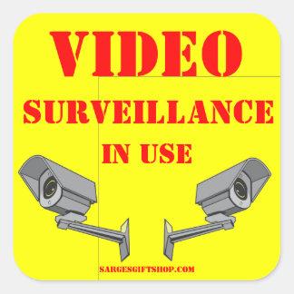 VIDEOüberwachung Quadrat-Aufkleber
