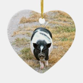 Vieh-Foto des Dickbauch-Schwein-| niedliches Keramik Herz-Ornament
