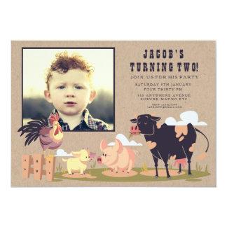Viehbarnyard-Kindergeburtstag-Foto laden ein 12,7 X 17,8 Cm Einladungskarte