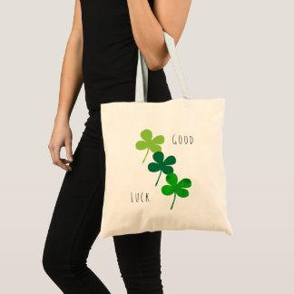 Viel Glück-grüne Kleeblätter Tragetasche