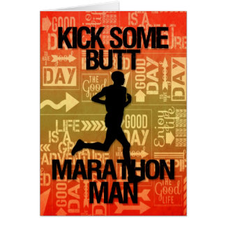 Viel Glück-Marathon-Mann-Tritt irgendein Hintern Karte