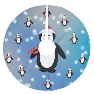 Viele Pinguine Polyester Weihnachtsbaumdecke