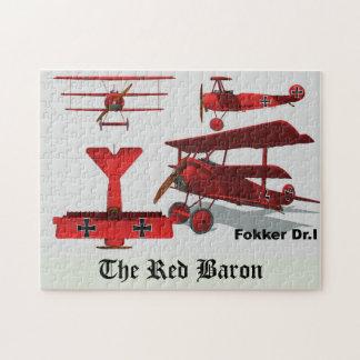 """Vier Ansichten des Fokker """"roter Baron """" Puzzle"""