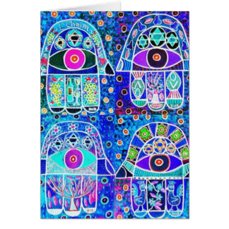 Vier Blau Hamsa Vintage Tapastry Judaika Grußkarte