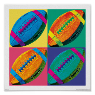 Vier Fußball in den verschiedenen Farben Poster