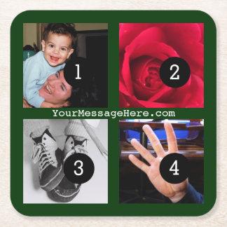 Vier Ihrer Fotos und Textes, zum Ihr eigenes Rechteckiger Pappuntersetzer