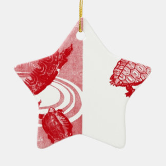 Vier rote Schildkröten Keramik Stern-Ornament