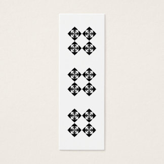 Vier stilvolle schwarze Blumen. Auf Weiß Mini Visitenkarte