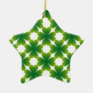 Vierblättriges Kleeblatt irisches Keramik Stern-Ornament