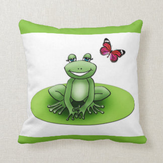 """Viereckiger Kissen """"Froggy der Frosch"""", Apfelgrün"""