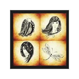Viererkabel-ägyptische Frauen wickelten Gespannte Galeriedrucke