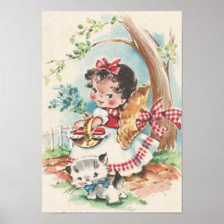 Vierzigerjahre kleines Mädchen mit Kätzchen Poster
