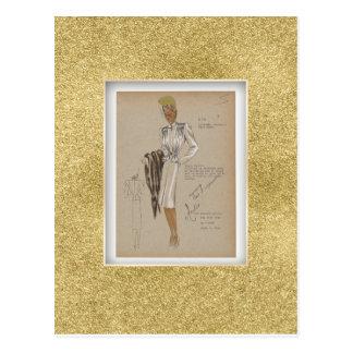 Vierzigerjahre Mantel-kurze Jacken-weicher Körper Postkarte