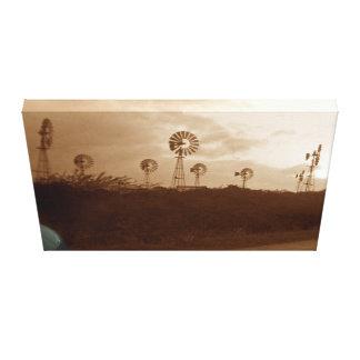 Vierzigerjahre Sepia-Windmühlen-Bauernhof mit Leinwanddruck