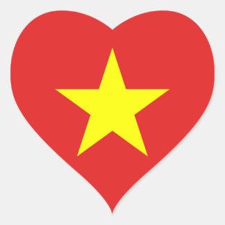 Vietnam-Flaggen-Gelb-Stern HeartSticker Herz-Aufkleber