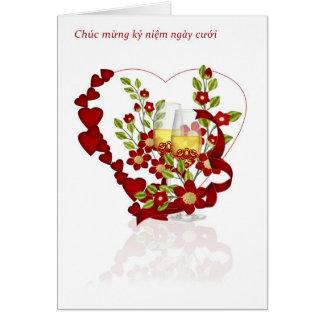 Vietnamesischer Hochzeitstag mit Champagne Karte