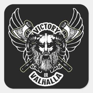 Viking - Sieg oder Walhall-Aufkleber Quadratischer Aufkleber