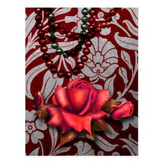 Viktorianische Arabeske, METALLISCHE ROSE - Rot Postkarte
