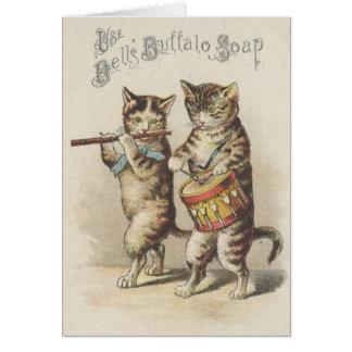 Viktorianische Büffel-Seifen-Katzen-Pfeifen-und Grußkarte
