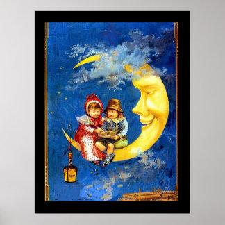 Viktorianische Kinder am Vintagen Plakat des Monde
