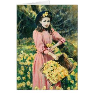 Viktorianische Mädchen Sammeln-Narzissen Karte